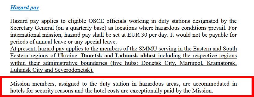L'hôtel est payé pour les observateurs de l'OSCE présents en RPD et RPL