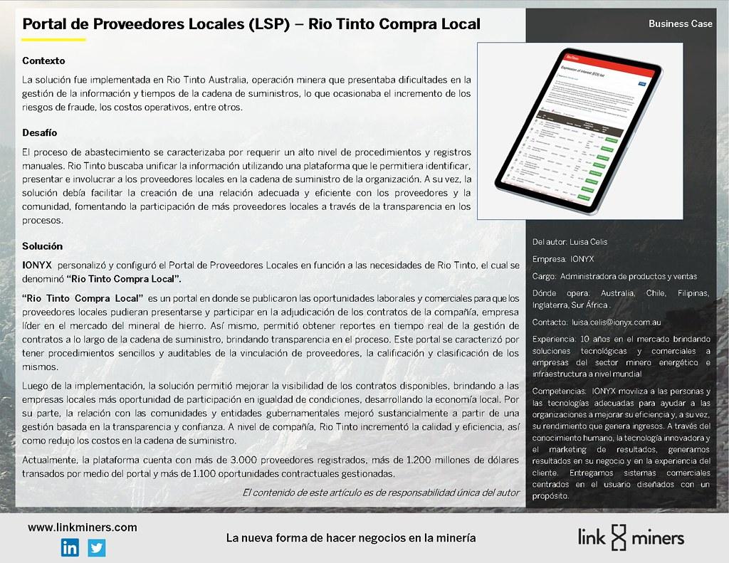 Portal de Proveedores Locales (LSP) – Rio Tinto Compra Local