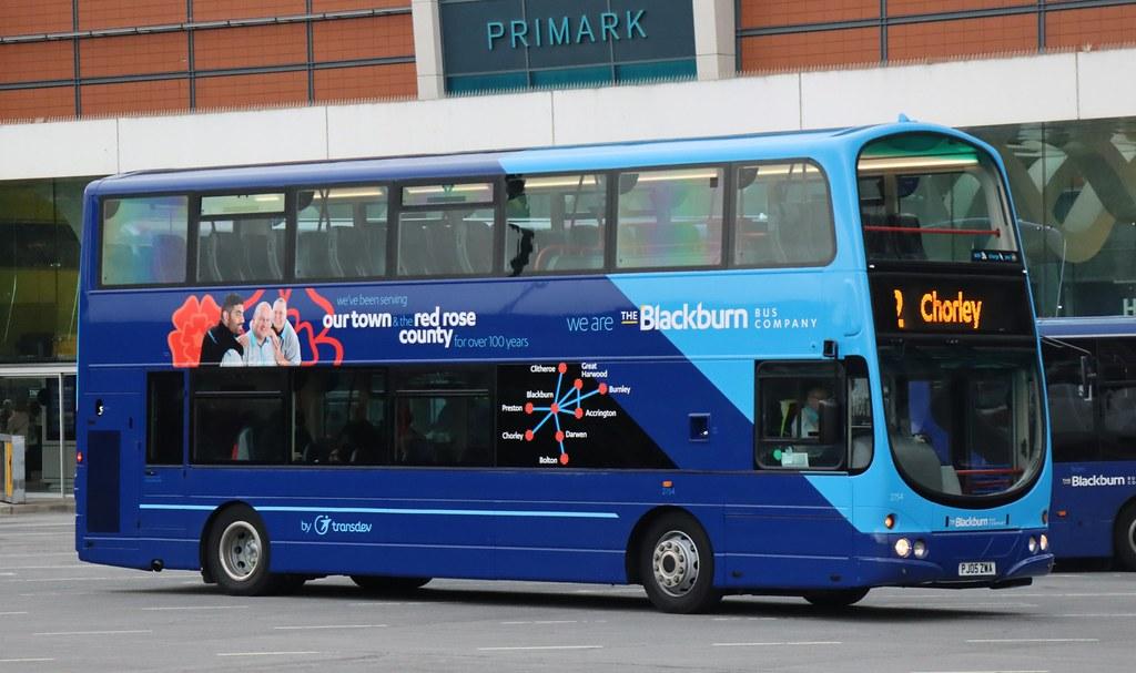 An offside view of 2754 PJ05ZWA the first Blackburn Bus Company (Transdev Lancashire) decker in two tone blue fleet livery at Blackburn Bus Station working a Chorley service.