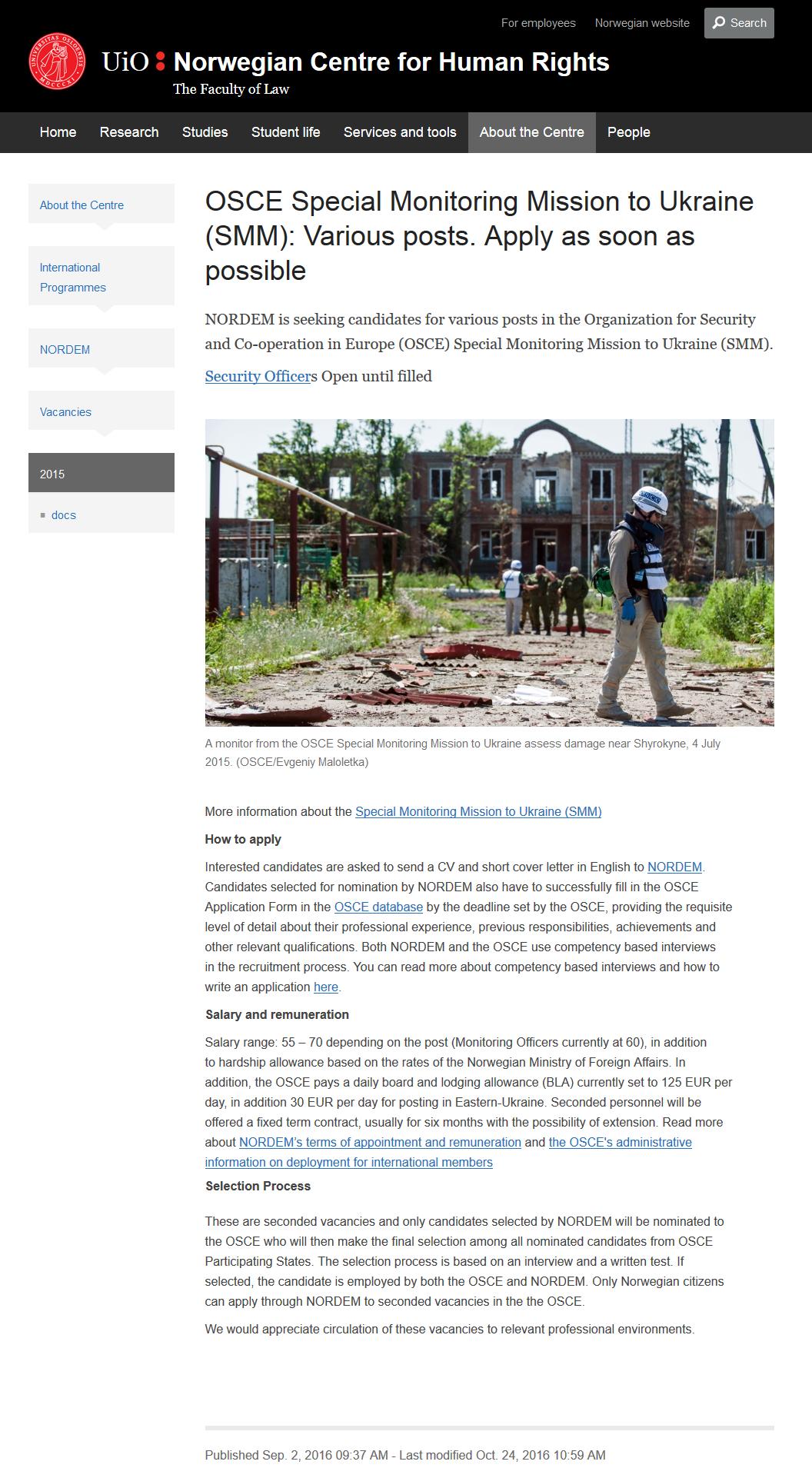 Site donnant la grille de salaire de l'OSCE