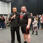 Colin Bryce and the victorious Eddie Hall at Britain's Strongest Man 2017