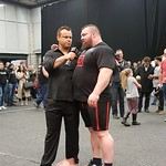 Colin Bryce and the winner Eddie Hall at Britain's Strongest Man 2017