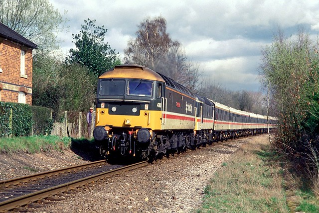 47613 North Star and Ethel 3 pass Claverdon on 11 April 1987