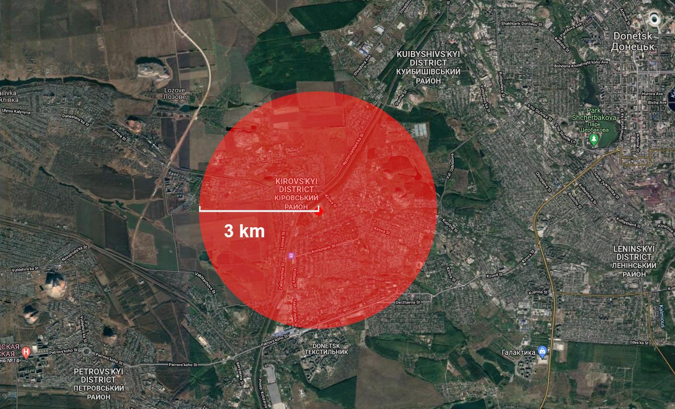Cart montrant les dégâts potentiels de l'attaque terroriste menée par l'Ukraine
