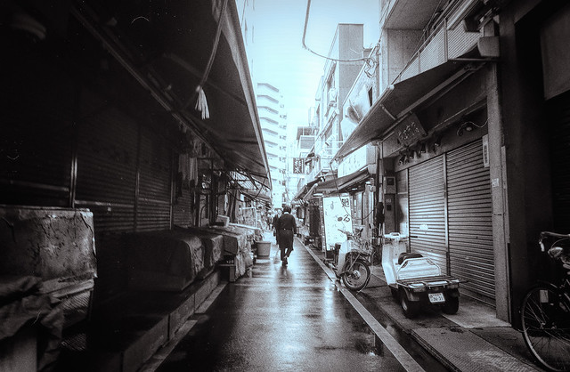 Tokyo alley near the Fish Market in Japan