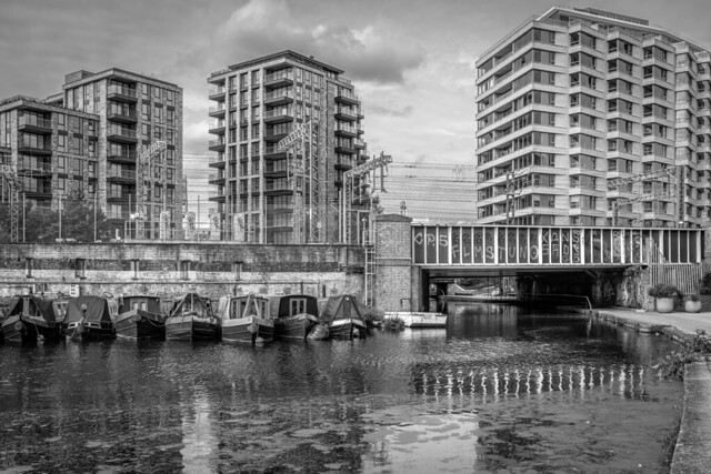 St Pancras basin in black and white
