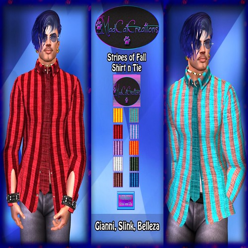 madcatcreations boutique -men - Stripes of Fall shirt n tie PIC