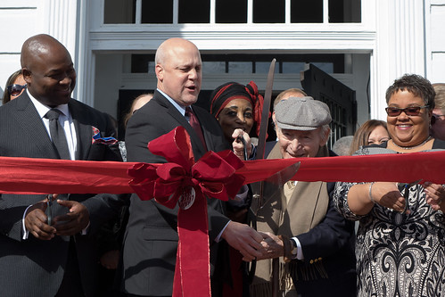 New Orleans Mayor Mitch Landrieu and George Wein at the dedication of the George and Joyce Wein Jazz & Heritage Center on December 11, 2014. Photo by Charlie Steiner.
