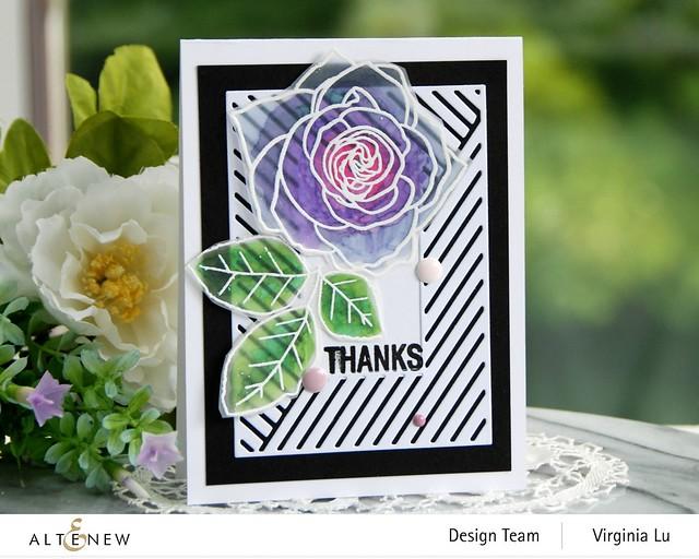Altenew-Mix & Match Frame Die-Rose Tea Stamp Set-Birds of the Woods Stamp -001