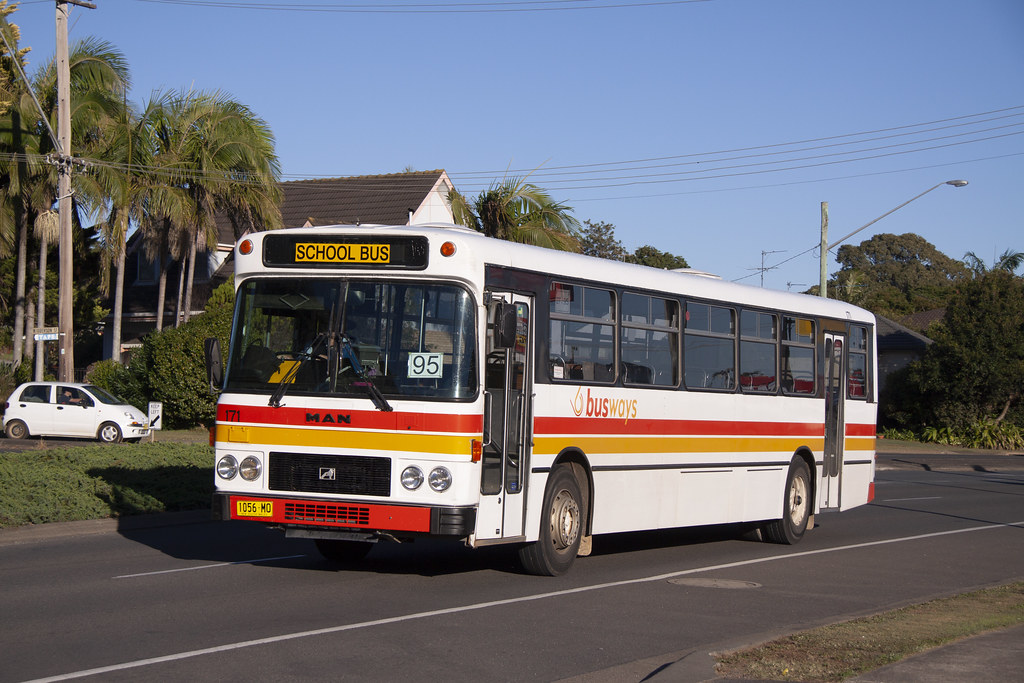 Busways (171) MAN 16.240/Custom Coaches having just departed the Port Macquarie depot.