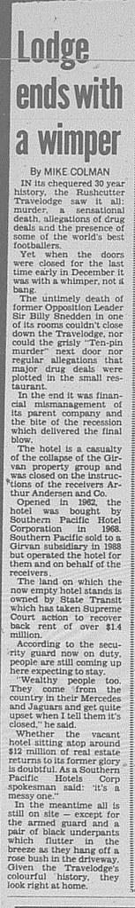 Travelodge Rushcutters Bay closing down January 16 1993 daily telegraph 14