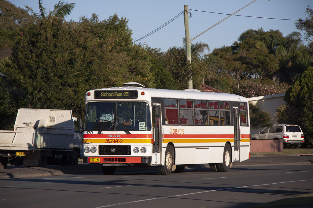 Busways (170) MAN 16.240/Custom Coaches having just departed the Port Macquarie depot.