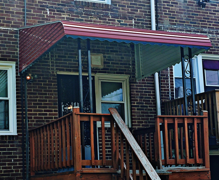 Red with Black Valance Deck Aluminum Awnings Baltimore-Hoffman Awning
