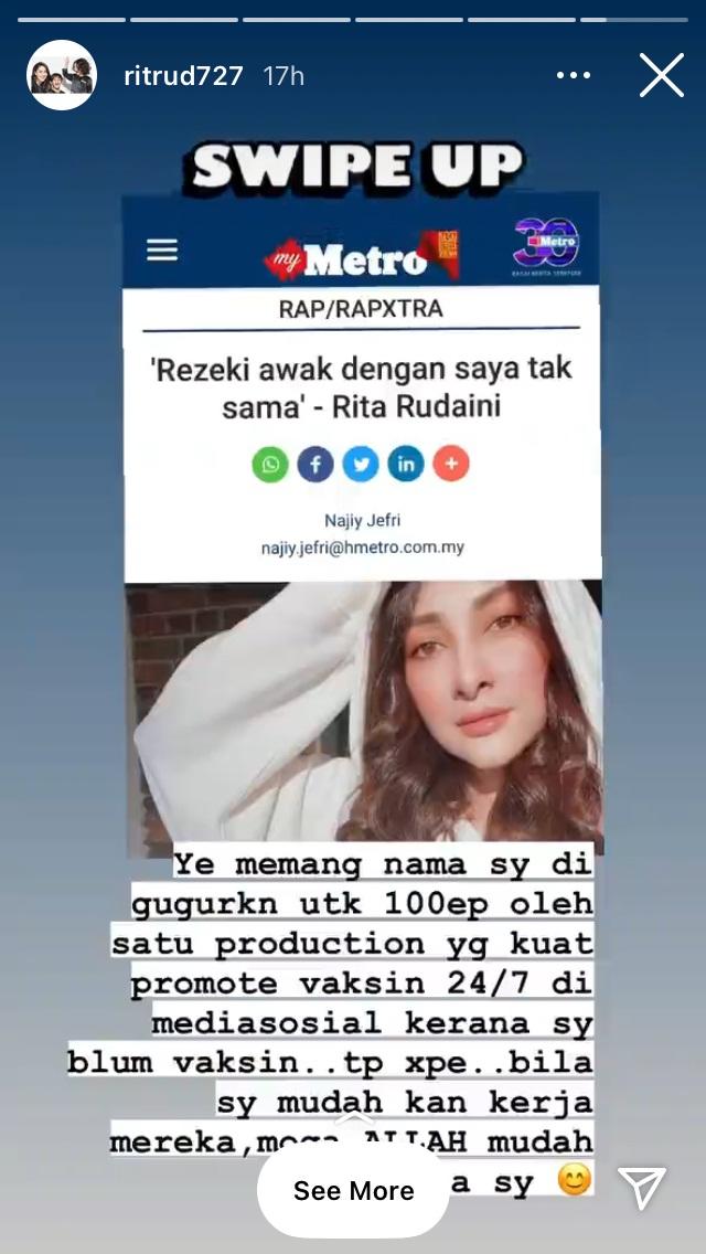 Rita Rudaini Digugurkan Oleh Produksi Untuk Drama 100 Episod, Ini Komen Rita