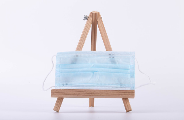 Face mask on a canvas stand
