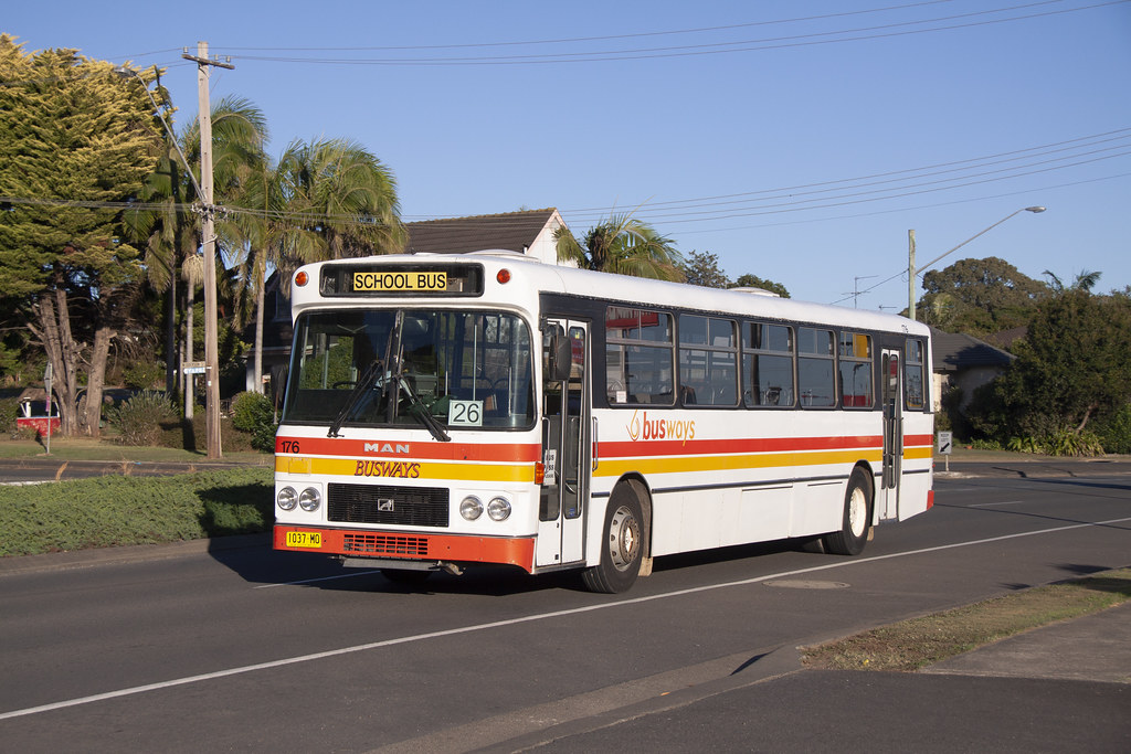 Busways (176) MAN 16.240/Custom Coaches having just departed the Port Macquarie depot.