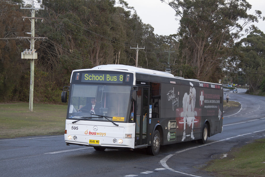 Busways (595) Mercedes Benz O405NH/Bustech in Port Macquarie.
