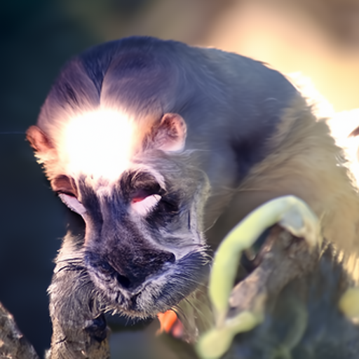 'a monkey | lens flare' Quick CLIP Guided Diffusion