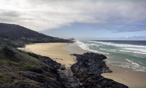 beach fraserisland rocks trees sea ocean waves sand