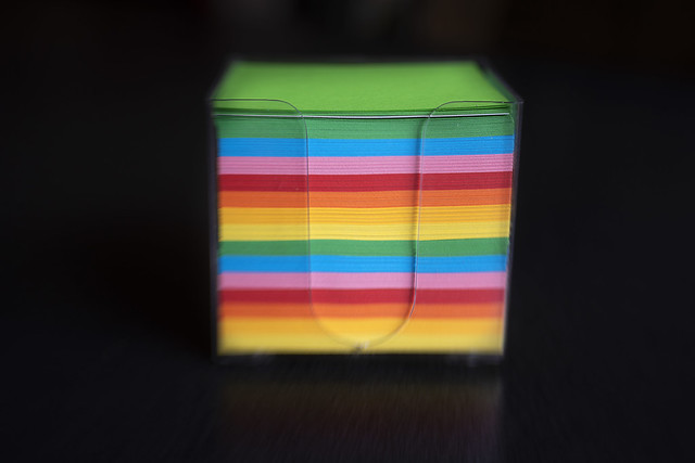 Cube with colored papers