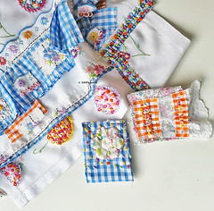 an edge...hand embroidered gingham ribbon and pages for a cloth embroidery book.