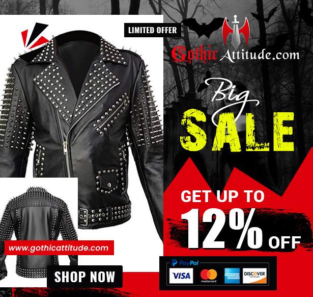 Women Real Black Leather Spike Jacket Studded Spice Buckle Belt Punk Style Cropped Jacket