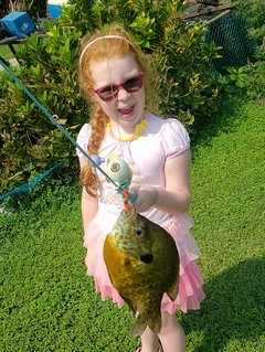 Photo of girl holding a sunfish caught on her fishing rod