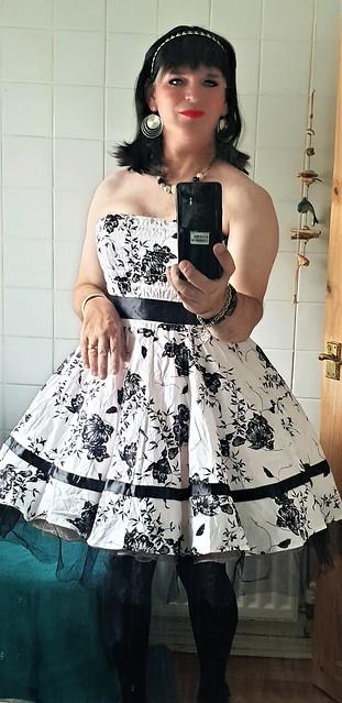 Strapless black and white floral dress  dark.10