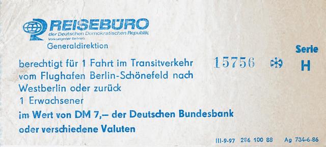 Zeitdokument • DDR-Transit-Fahrschein 1988