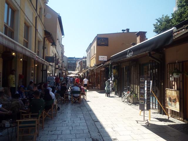 The narrow streets of Sarajevo in the Baščaršija district