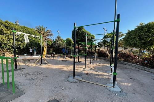 Estado actual de las obras del circuito de calistenia en el Parque Urbano de Arinaga