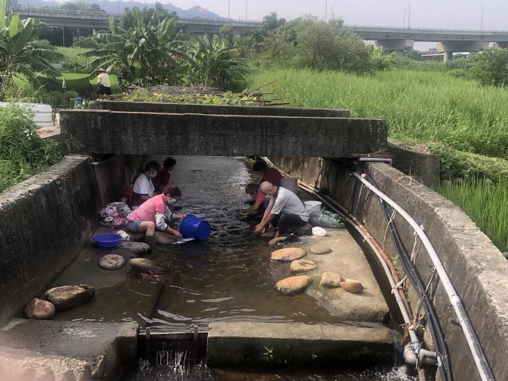 20210911銅科環差地方說明會。銅鑼特有的水圳洗衣坑文化,目前每天都還有鄉民在洗衣清潔。照片提供:賴世若