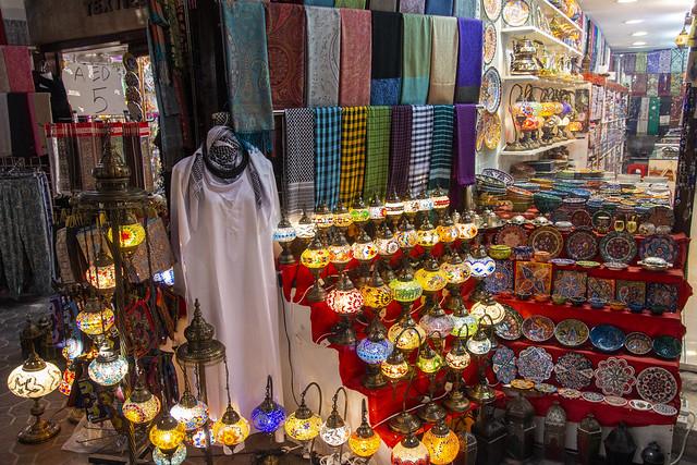 Lots of choice and colour, Textile souks, Dubai, United Arab Emirates