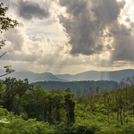 1. August 2021 - 18:35 - In the Great Smoky Mountains National Park, the sun bursts through the clouds showering the mountains with soft beams of warm light on a lush summer afternoon outside of Gatlinburg, TN.