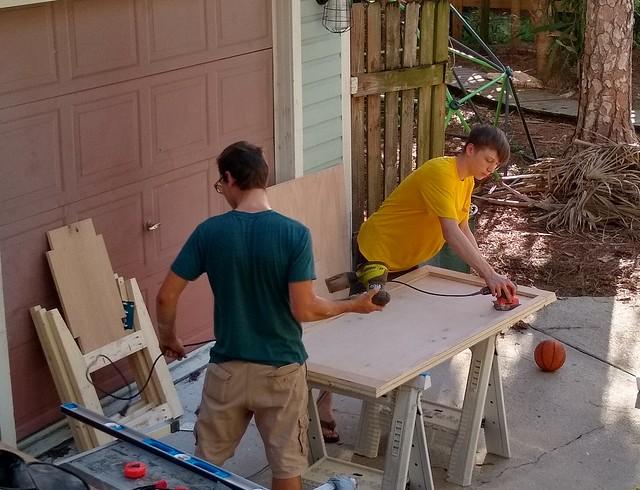 Eli and Titus building a desk