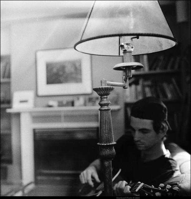 Study with Guitarist by Window with Lamp           -Ilford HP5 Rodinal