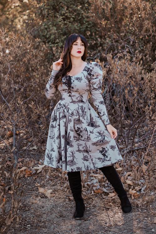 La Femme En Noir Sleepy Hollow Gothic Tales Toile Swing Dress in Grey