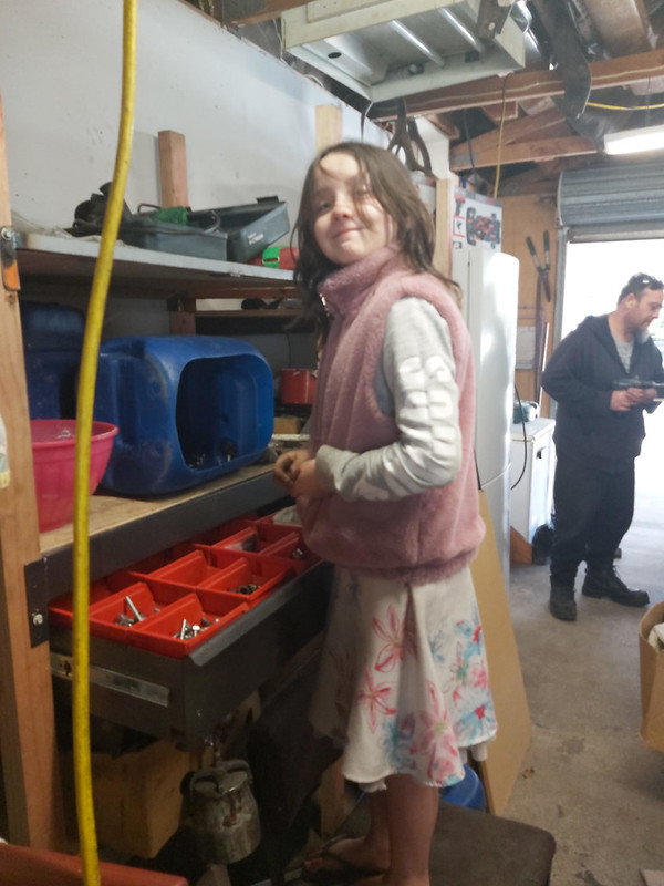 Helping Dad in the garage