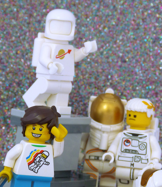 Why don't take a photo with the real astronauts instead of a statue?