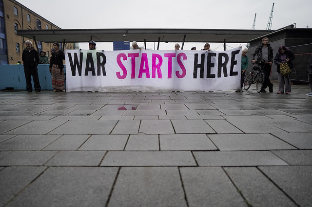 War Starts Here ! Activists outside the DSEI Arms Fair