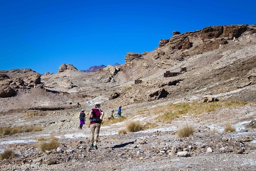 Hiking toward John Cyty's cabin and stamp mill.  You can just barely see Corkscrew Peak beyond the white hills.  Death Valley National Park, California