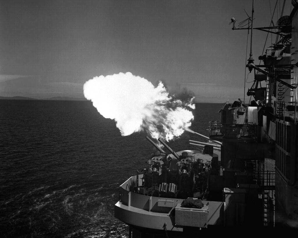 USS Saint Paul (CA-73) shelling Korea 1953.