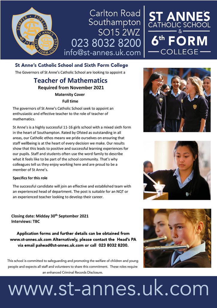 Microsoft Word - Teacher of mathematics - maternity cover Sept 21[2].docx