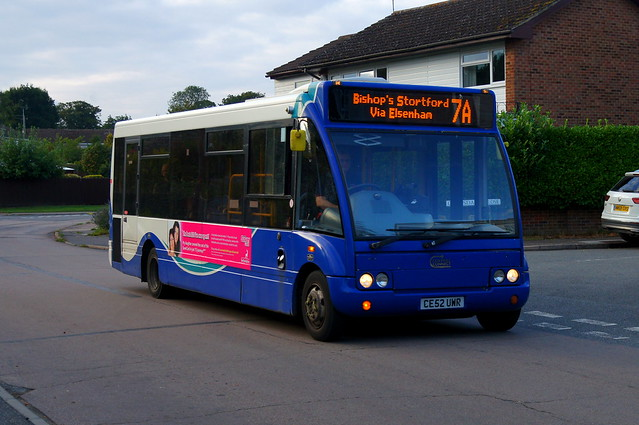 September Nights: Trustybus (ex ASD Coaches) Optare Solo M850 CE52UWR (formerly F6ASD) Croasdaile Road Stansted Mountfitchet 15/09/21