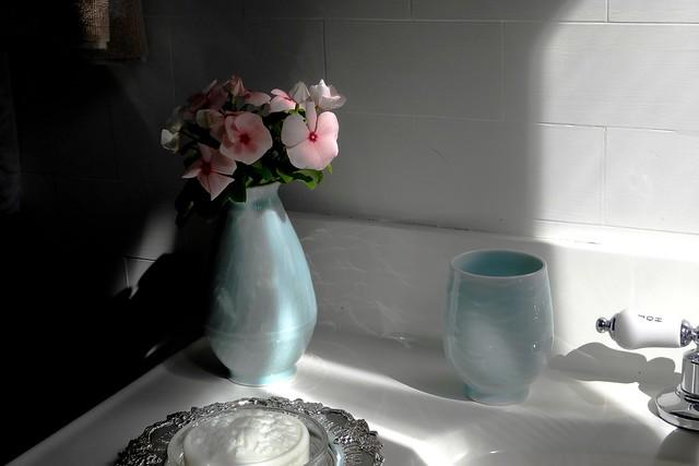 Delicate Pink Flowers in Bathroom