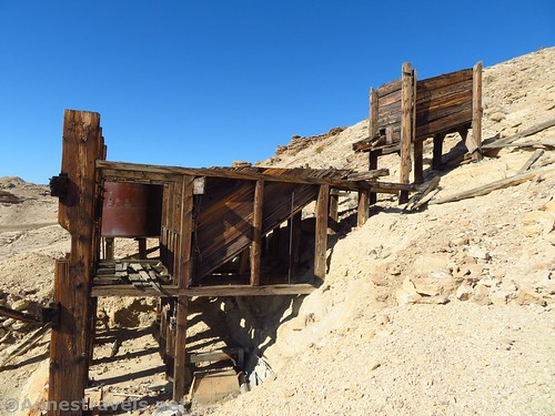Side-view of the old stamp mill near John Cyty's Cabin, Death Valley National Park, California