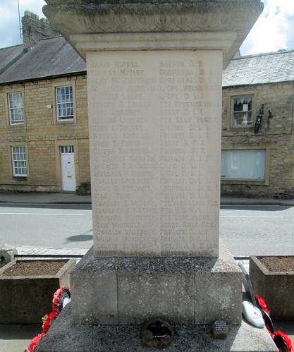 War Memorial, Wolsingham, Great War Names