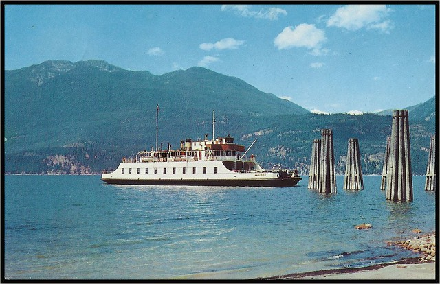 c. 1962 Dexter Postcard (Ektachrome by R. Donaldson) - M. V. Anscomb Ferry on the Kootenay Lake, British Columbia
