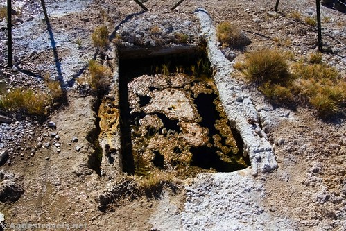 The concrete water collection tank at Keane Spring, Death Valley National Park, California