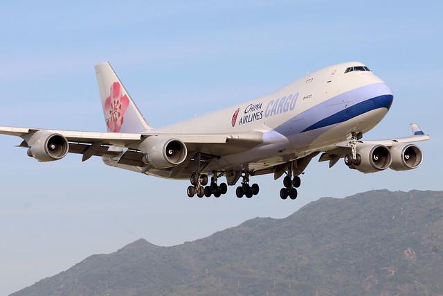 China Airlines B747-400 B-18707 landing HKG/VHHH